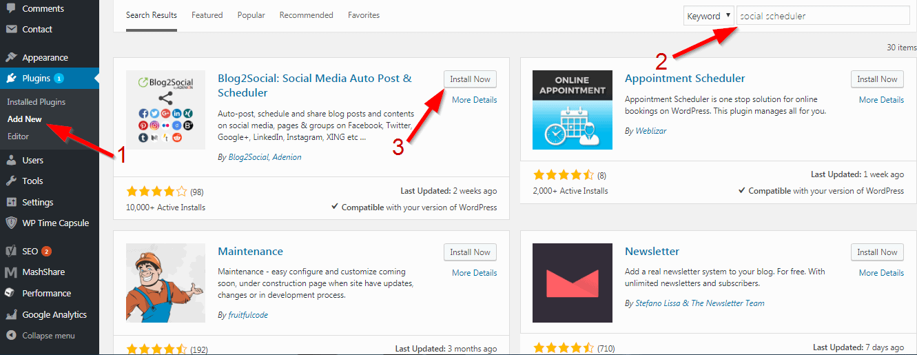 Install WordPress plugin from search method