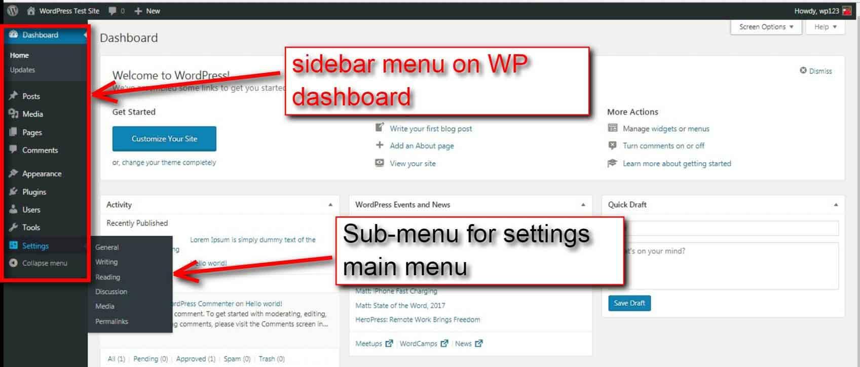 how to add menu in wordpress dashboard