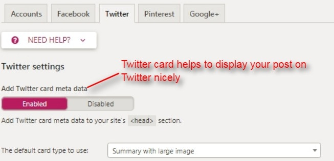 enable twitter card which helps to display your post on Twitter nicely