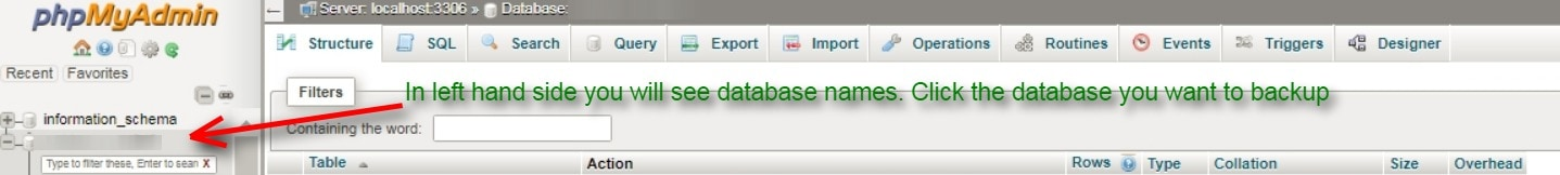 select the database on phpmyadmin