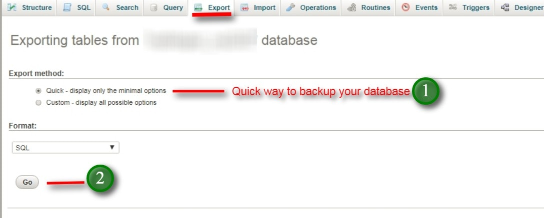 backup database quickly using this option