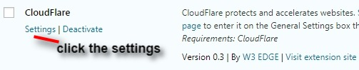 activate cloudflare on extension