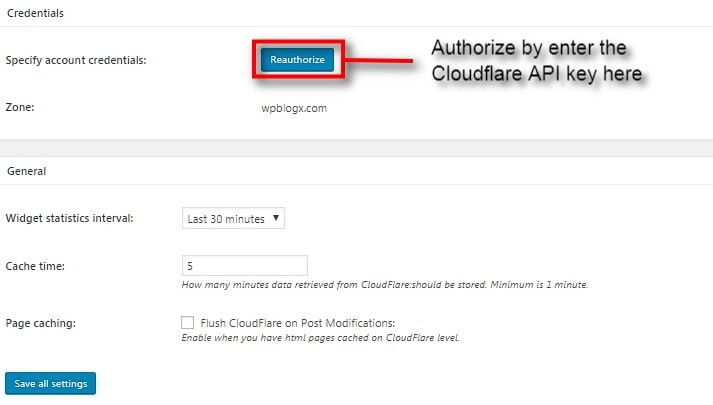 cloudflare api credentials