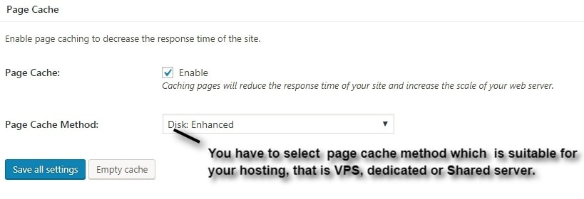 w3tc enable page cache