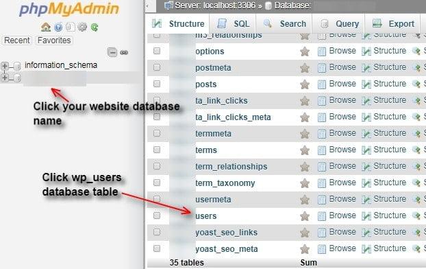edit mysql database table