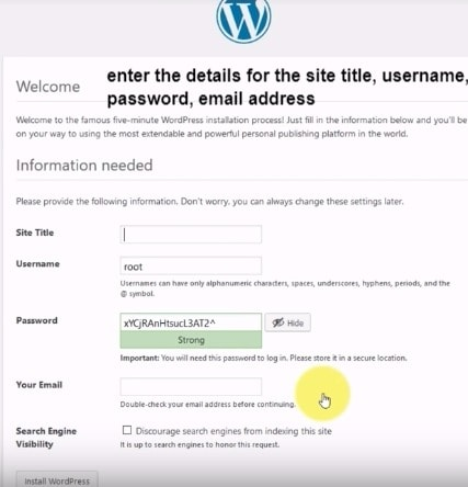 enter the details for the WordPress site title, username, password, email address