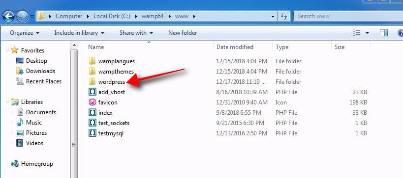 extract wordpress on WAMP server folder called www