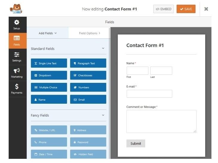 Drag & Drop form WPform builder